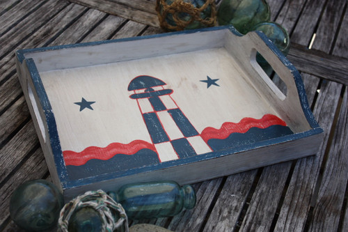 "Americana Wooden Tray 16"" - Light House Decor   #ort17093c"
