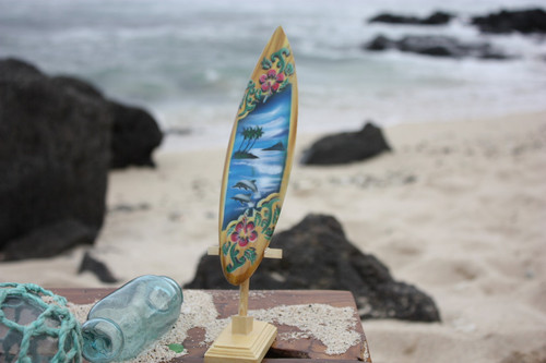"""Surfboard w/ Stand Dolphins & Hibiscus Design 8"""" - Trophy 
