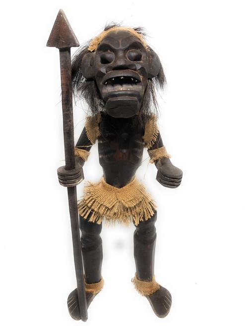 "Male Primitive Warrior Chief w/ Spear 28"" - Tribal Art | #lge2400170"