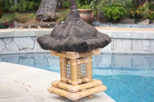 "Balinese Bamboo Lantern 24"" w/ Coconut Husk Roof   #ptb2900115"
