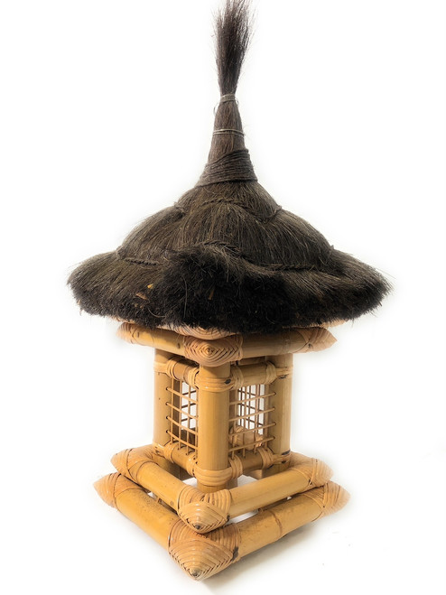 "Balinese Bamboo Lantern 24"" w/ Coconut Husk Roof 