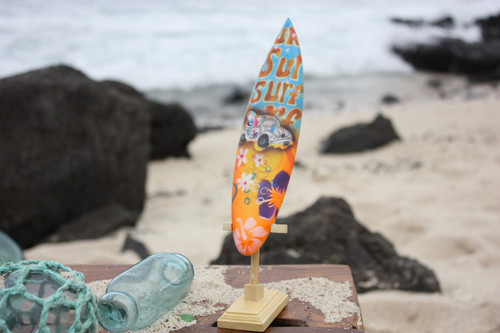 "Surfboard w/ Stand 70's VW Bug Design 8"" - Trophy | #lea02l20"