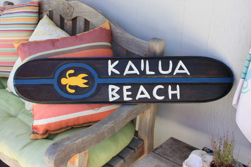 "Kailua Beach Wooden Surf Sign w/ Honu 40"" - Island Decor 