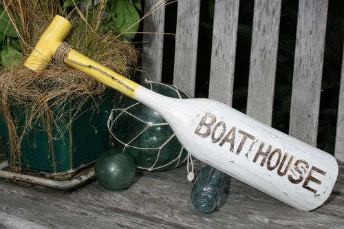 "Boat House Oar 22"" Wall Hanging - Rustic Yellow Nautical Decor 