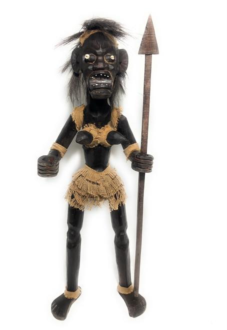 "Female Primitive Tiki Warrior Chief w/ Spear 40"" - Tribal Art | #lge24002100"
