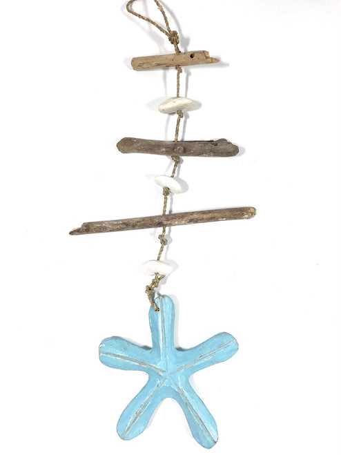 "Driftwood Garland w/ Sea star & White Stone 20"" Blue 
