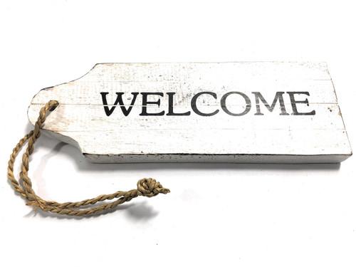 "Welcome Door Tag Wood Sign 9"" - Rustic Coastal   #snd25063"