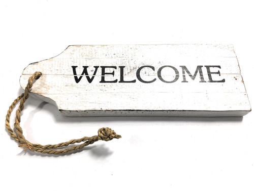 "Welcome Door Tag Wood Sign 9"" - Rustic Coastal 
