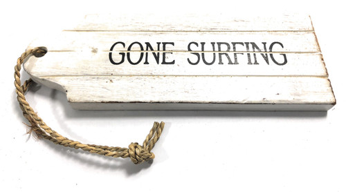 "Gone Surfing Door Tag Wood Sign 9"" - Rustic Coastal 