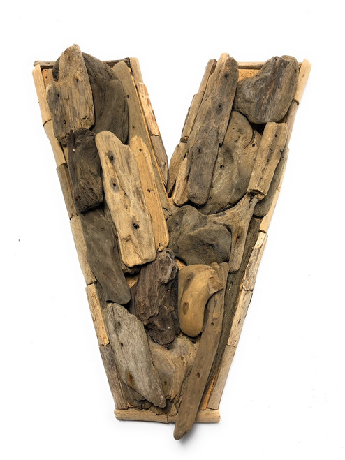 """V"" Driftwood Letter 10"" Home Decor - Rustic Accents 