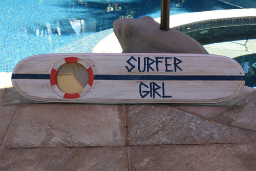 Surfer Girl Nautical Sign w/ Built-In Photo frame 40"