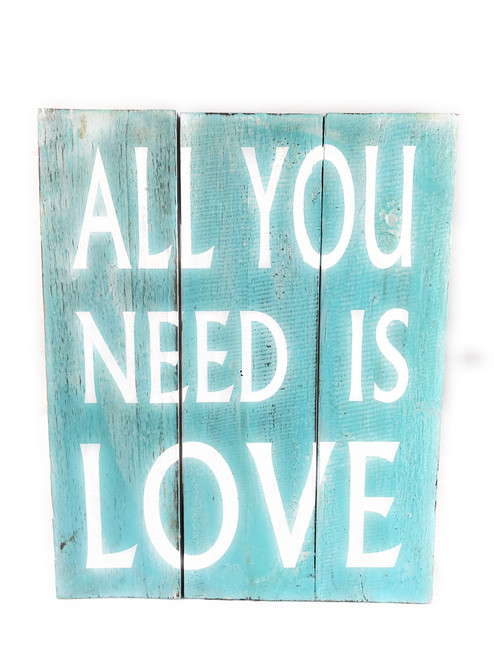 """All You Need Is Love"" Beach Sign on Wood Planks 12"" X 9.5"" 