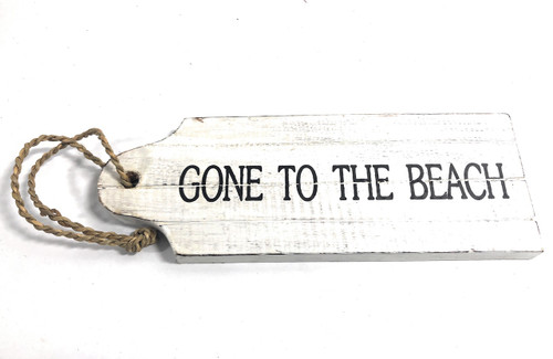 "Back In 5 Mins Door Tag Wood Sign 9"" - Rustic Coastal 