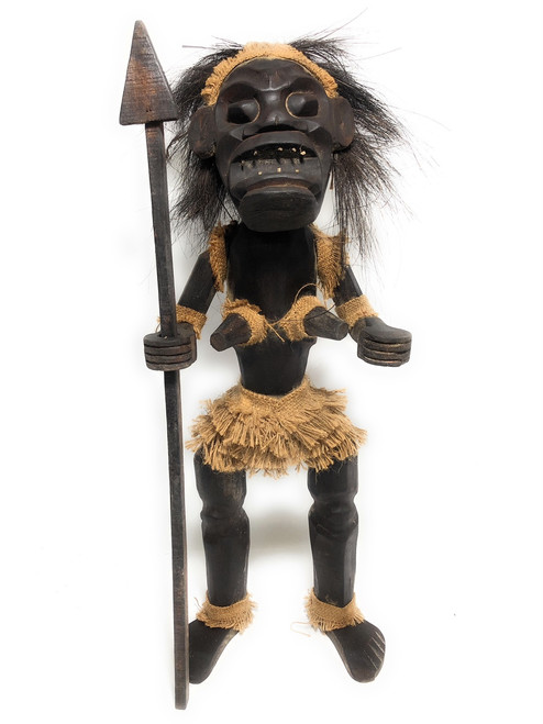 "Female Primitive Tiki Warrior Chief w/ Spear 28"" - Tribal Art 