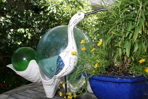 """Decorative Egret Bird 14"""" - Rustic Blue Wooden   #ort1705234b"""