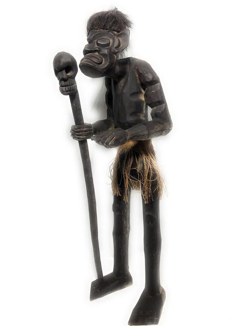 "Head Hunter Primitive Warrior w/ Skull 40"" - Tribal Art | #lge24003100"