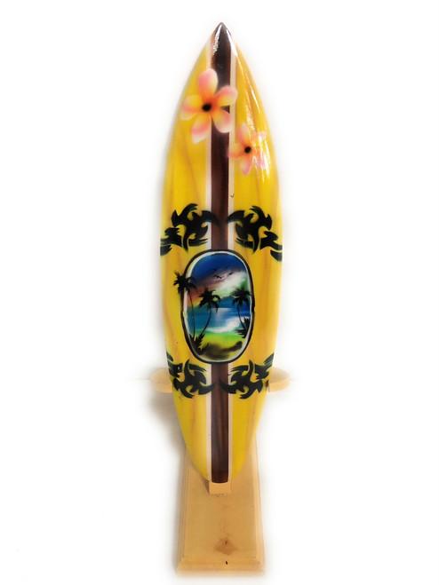 "Surfboard w/ Stand Palms & Plumeria Design 12"" - Trophy | #lea03f30"