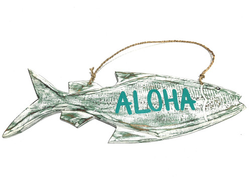 "Aloha Sign 16"" Green Rustic Fish - Coastal Decor 