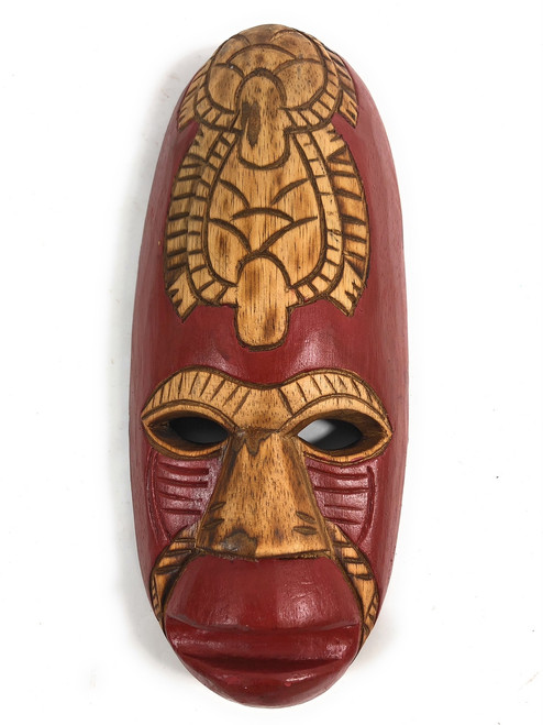 "Fijian Tiki Mask 12"" w/ Carved Turtles - Love 