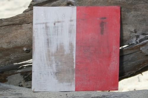 "H Nautical Alphabet Wooden Plaque 7"" X 7"" - Coastal Decor   #skn16017h"