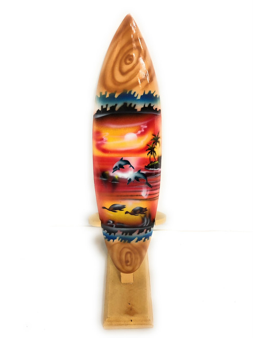 "Surfboard w/ Stand Sunset Design 12"" - Trophy 