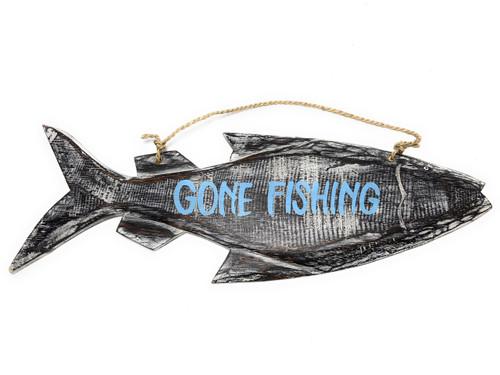 """Gone Fishing"" Beach Fish Sign - 16"" - Coastal Decor | #snd2501940"