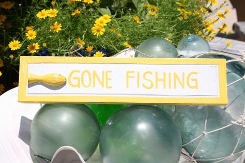"Gone Fishing 12"" Sign - Yellow Rustic Coastal Decorative Blue   #ort1703530y"