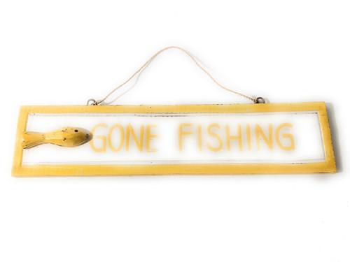 "Gone Fishing 12"" Sign - Yellow Rustic Coastal Decorative Blue | #ort1703530y"