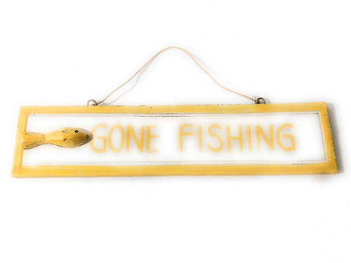 "Gone Fishing 12"" Sign - Yellow Rustic Coastal Decorative Blue 