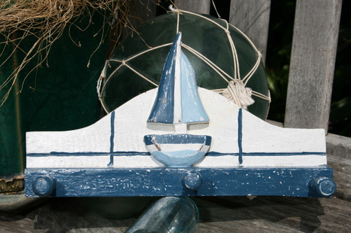 "Sailboat Hanger 12"" w/ 3 Pegs - Rustic Blue Nautical Accent 