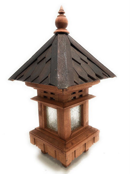 "Balinese Lantern 20"" w/ Shingle Roof & Glass Siding | #ptb2900515"