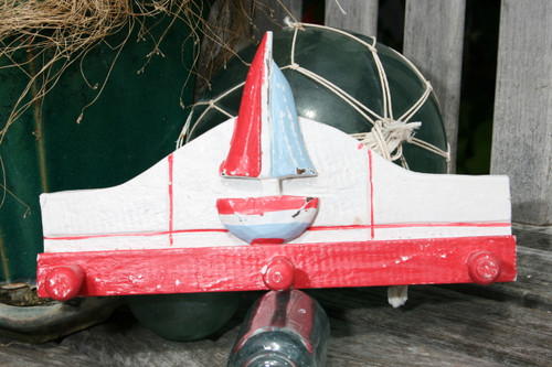 """Sailboat Hanger 12"""" W/ 3 Pegs - Rustic Red Nautical Accent   #ORT1700328r"""
