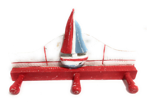 "Sailboat Hanger 12"" W/ 3 Pegs - Rustic Red Nautical Accent 