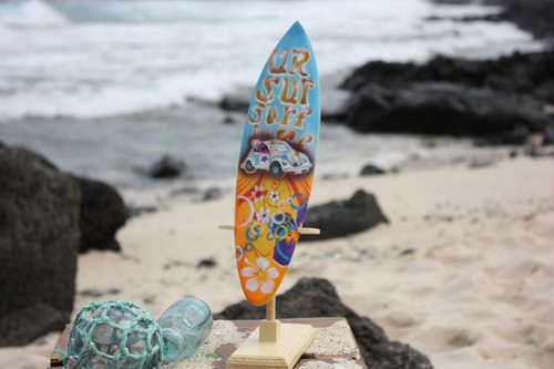 "Surfboard w/ Stand 70's VW Bug Design 12"" - Trophy   #lea03l30"