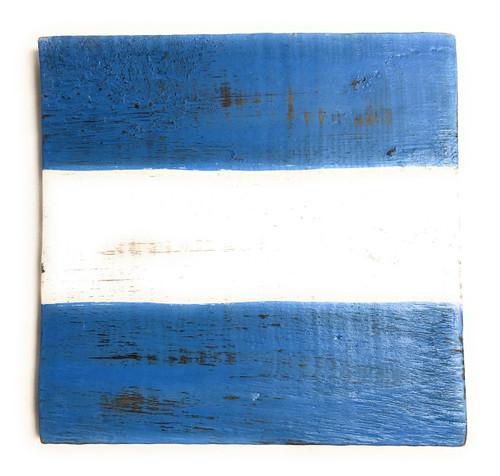 "J Nautical Alphabet Wooden Plaque 7"" X 7"" - Coastal Decor   #skn16017j"