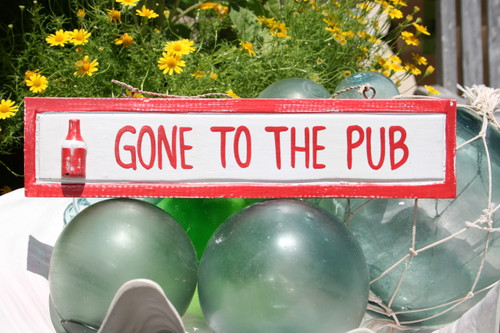 """Gone To The Pub 12"""" Wooden Sign - Red Nautical Accent 