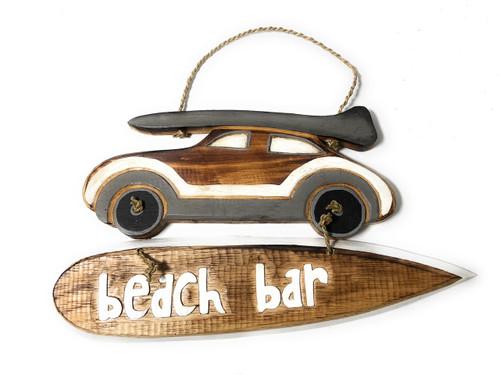 """""""Beach Bar"""" Woody Car Sign - 14"""" - Beach Decor   #snd2502236"""