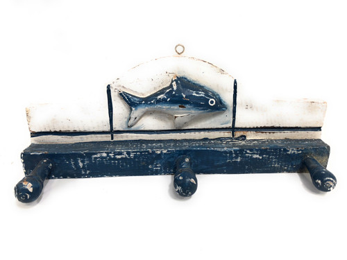 "Fish Hanger w/ 3 Pegs 12"" - Rustic Blue Nautical Decor | #ort1700428y"