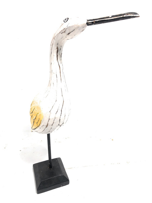 "Egret Bird 14"" Wooden - Decorative Rustic Yellow Coastal Decor 