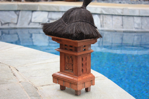"""Balinese Sconce 20"""" W/ Coconut Husk Roof - Wall Hanging 