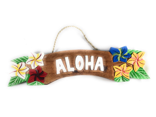 """Aloha"" Sign w/ Plumeria Flowers 12"" - Hawaiiana Decor 