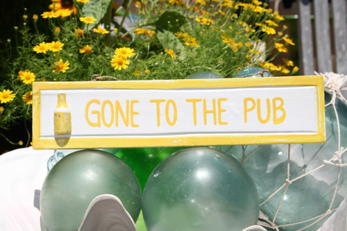 """Gone To The Pub 12"""" Wooden Sign - Nautical Accent 