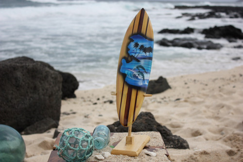 """Surfboard w/ Stand Dolphins Design 16"""" - Trophy 
