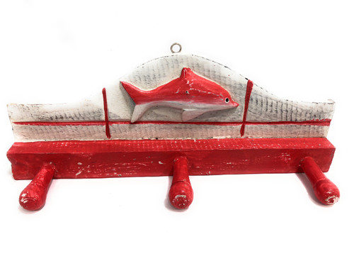 "Fish Hanger 12"" w/ 3 Pegs - Rustic Red Coastal Decor | #ort1700428r"