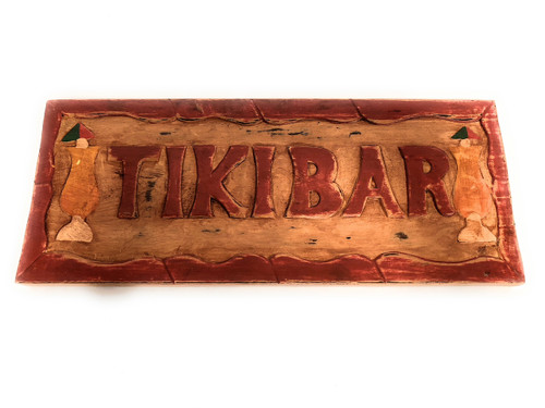 "Tiki Bar Sign 16"" w/ Cocktails - Hand Carved/painted 
