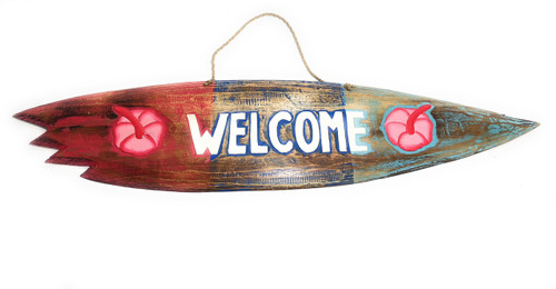 """Welcome"" Shark Bite Surf Sign - 40"" - Beach Decor 