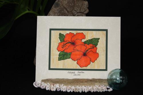 ORANGE HIBISCUS FLOWERS TAPA CLOTH HAWAIIAN - 10 X 8 PAINTING