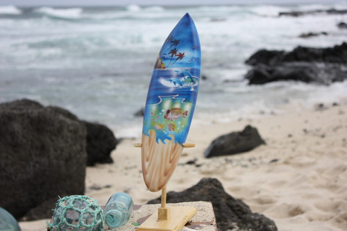 "Surfboard w/ Stand Island Sealife Design 16"" - Trophy"