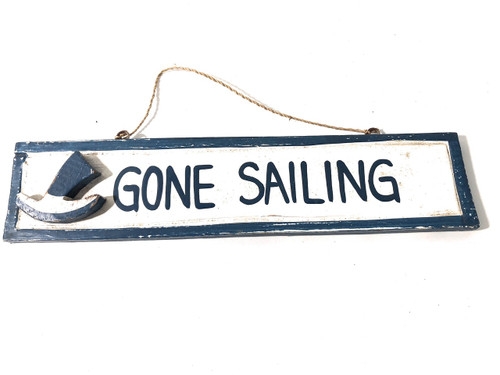 "Gone Sailing 12"" Sign - Rustic Coastal Decorative Blue | #ort1703730b"