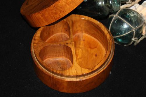 "3-Divider Teak Root Keepsake 6"" X 4"" - Wooden Bowl | #syn08"